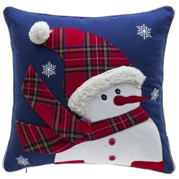 Twinkle Snowman 100% Cotton Throw Pillow by 14 Karat Home Inc.